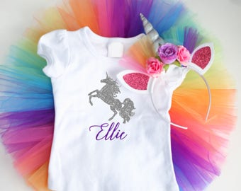 Rainbow Unicorn Outfit - Unicorn Birthday Outfit for girls