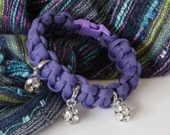 Purple Paracord Bracelet / Purple Bracelet / Rhinestone Bracelet / Paracord Bracelet / Rope Bracelet / Cobra Knot Bracelet - Paracord 116