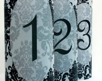 Damask Luminary Table Numbers set of 20, Wedding Table Numbers, Damask Wedding