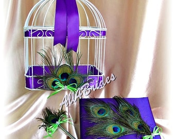 Peacock wedding bird cage card box, guest book and pen, purple peacock wedding accessories,