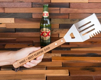 Personalized Spatula, Grilling Spatula, BBQ Spatula, Bamboo Wood Spatula, Engraved Spatula, Dad Spatula, King of Grill, Dad Gift, Man Gift