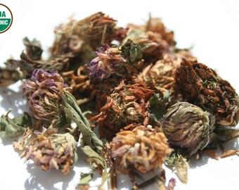 Premium Organic Whole Red Clover Blossoms  Herbal tea 4 oz