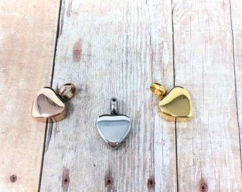 Cremation Urn Charm - Tiny Heart Pendant, Heart Charm, Cremation Jewelry, Delicate - rose gold, silver or gold / free shipping