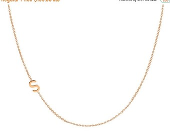 MOTHERS DAY SALE 14k gold asymmetrical initial necklace