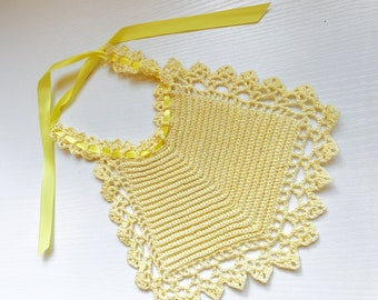 Soft Yellow Vintage Baby Bib with Bright Yellow Satin Ribbon