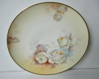 Hand Painted Roses Prussia ROYAL RUDOLSTADT Plate. Signed F Kahn