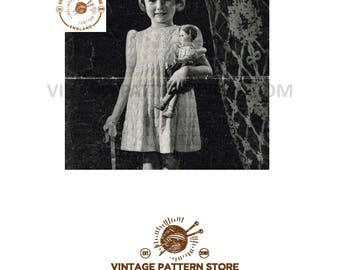 """Girls 1930s round neck, short raglan sleeve, bluebell cable party dress frock  - 22.5"""" - 24"""" chest - Vintage PDF Knitting Pattern 272"""