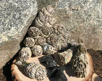 HOME CLEANSING Smudge Kit | White Sage, Blue Sage, Lavender Bundle, Raw Black Tourmaline for New Home Cleanse Protection Altar Smudging Kit