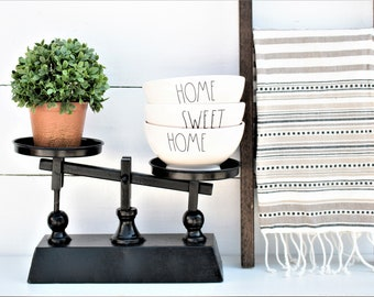 Kitchen Scale-Decorative scale-Rae Dunn Inspired-Farmhouse Decor-Rustic-Fixer Upper-Magnolia Market inspiredt-Black Scale-French style scale