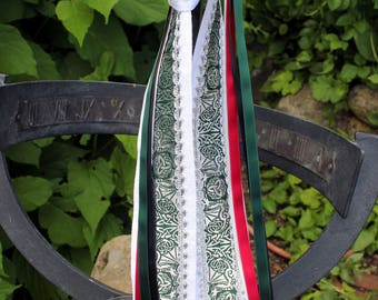 Handfasting, linen, band with tying ribbons, green, white, red, black, wedding, Celtic, ritual, lace motif of Celtic Dragon, green, silver