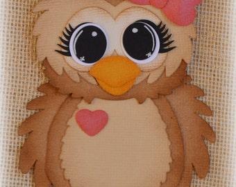 Valentines Owl Premade Scrapbooking Embellishment Paper Piecing