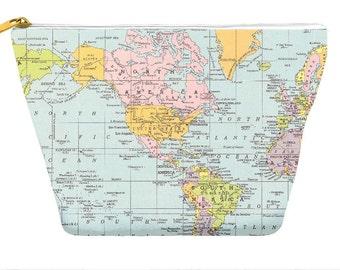 World Map pencil case, makeup bag, travel, wanderlust, back to school, zipper pouch bag