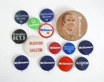 Vintage Campaign Buttons, 1972 George McGovern Pins, US President Pinbacks, Eagleton Shriver, Political Collectibles, Democrat Memorabilia