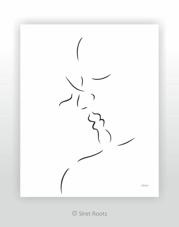 One Line Ascii Art Kiss : Minimalist kiss sketch black and white line drawing