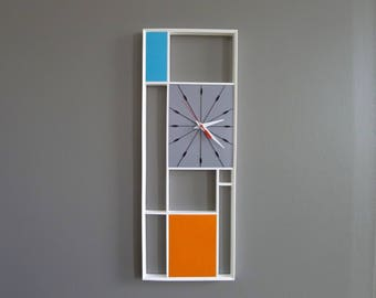 Mid Century Inspired White Gray Orange and Aqua Blue Geometric Wall Clock