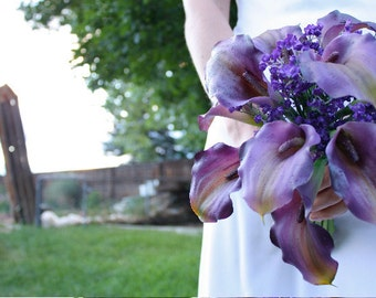 Purple Calla Lily Bouquet with Real Touch Flowers, Summer Wedding, Spring Wedding, Fall Wedding, Eggplant, Dark Grape