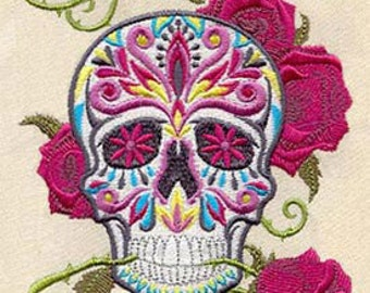 Calavera Skull with Roses Mexican Culture Dia De Los Muertos Embroidered Flour Sack Hand Towel