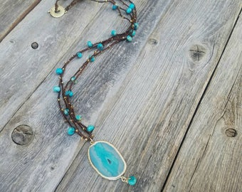 Agate Slice Beaded Necklace // Glass Beaded Necklace // Beaded Long Necklace // Teal Necklace // Teal and Gold Necklace // READY TO SHIP