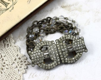 Art Deco Buckle Assemblage Bracelet, Vintage Assemblage Art Deco Bracelet, MultiStrand Art Deco Bracelet, Art Deco Bridal Bracelet,