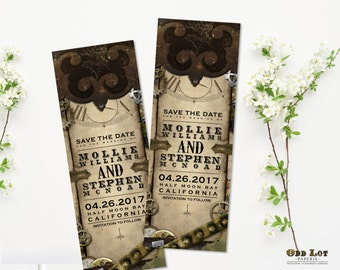 Steampunk Save the Date Bookmark Announcement, Steampunk wedding save the date card, Printable bookmark, Offbeat wedding, Leather and Gears