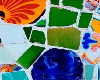 Abstract Wall decor, rustic wall decor, Barcelona, Gaudí, Gallery wall, mosaic tiles, Mosaic wall art, Art, wall prints, Spanish tile