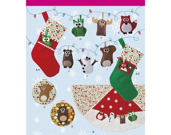Simplicity Sewing Pattern 1516, Felt Ornaments, Christmas Stocking, Tree Skirt, Wall Hangings, Snowman Ornament, New Uncut Pattern
