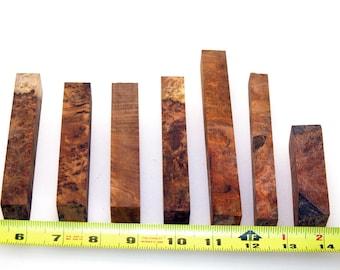 7 Vacuum Stabilized PEN BLANKS - AMBOYNA Burl - Exotic hardwood (Lot 3)