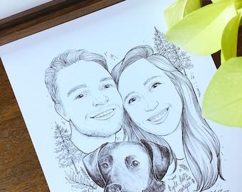 Custom black and white portrait, couples portrait, family portrait, anniversary gift, engagement gift, gift family, pet portrait, Valentines
