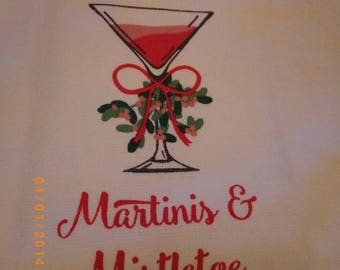 Martinis & Mistletoe Hanging Kitchen Towel, custom made kitchen towel, hanger color choice,