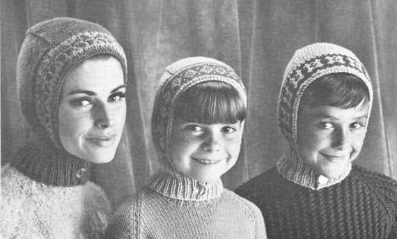 Vintage Knitting Pattern Ladies Womens Kids Childrens Snug Helmet