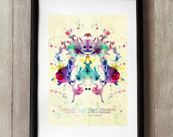Alice in Wonderland Print, Wonderland Wall Art, Rorschach Art, Wonderland Poster, Lewis Carroll, Alice Print, Wonderland Decor, Alice Decor