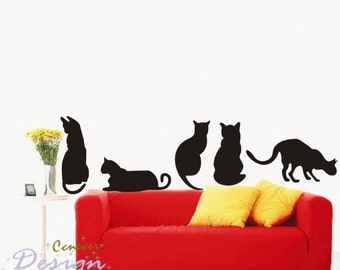 Cute 5 little cats----Removable Graphic Art wall decals stickers home decor