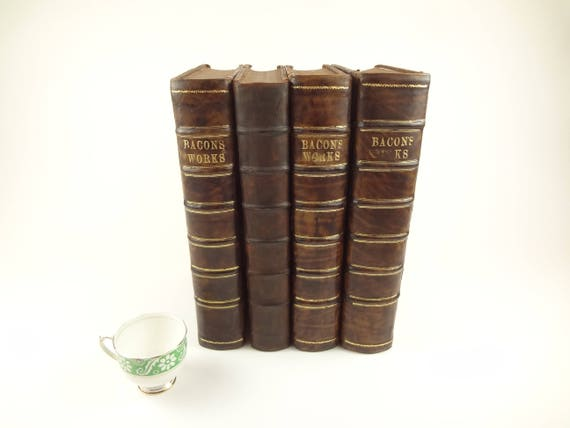 1740 1st ed. Works of Francis Bacon. 4 volumes, in folio, rebacked. Large! George Vertue frontis illustrations.