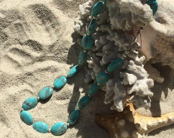 Turquoise necklace, Statement Necklace, Blue Turquoise, Beaded Necklace, BoHo, Bohemian, Jewerly, Gifts, Southwest, Western,Eclectic,