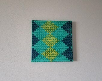 Knitted diamond painting, argyle knitting, painted yarn, knitting art, wall art, home decor, craft room art, unique gift for knitter