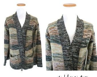 Space Dye Sweater Wrap Cardigan 1970s 70s Hippie Boho Earth Tones Woven Knit Acrylic Size Small Medium