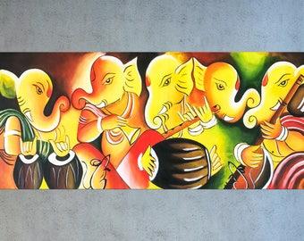 Indian art, Ganesha painting, Indian decor, Ganesha art, Figurative art, Ganpati art, Asian art, Hindu God, Painting on canvas, Music art