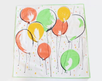 Vintage White, Orange, Yellow, and Green Cotton Scarf with Party Balloons Print- 1950s/1960s