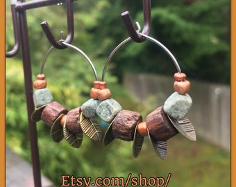 Nature Inspired Hoops - Copper, Wood & Stone Hand Made - Great Gift