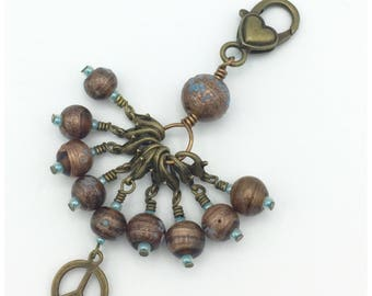 Snag free removable stitch marker set of 9 in bronze and turquoise with beaded stitch mark holder-gift for knitters-crochet jewelry-