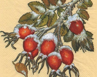 3131 - set 3 branch and berries snow paper napkins