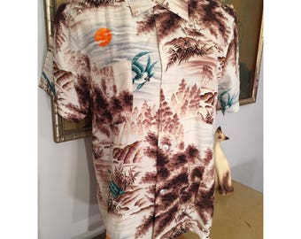 1950s Men's Hawaiian Shirt by Penney's, Made in Japan -- Beautiful Japanese Landscape Design with Swooping Birds, Unworn with Original Tags