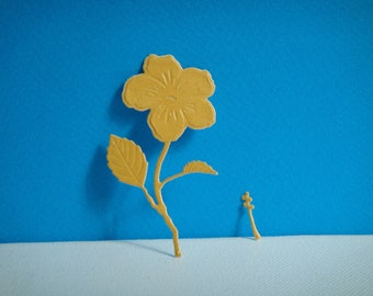 Cut paper adhesive pailleter drawing hibiscus you even for creation