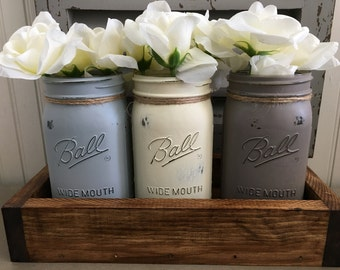 Mason jar centerpieces, mason jar table decor, farmhouse decor, kitchen decor, kitchen utensil holder, mason jar flower vase, farmhouse jars