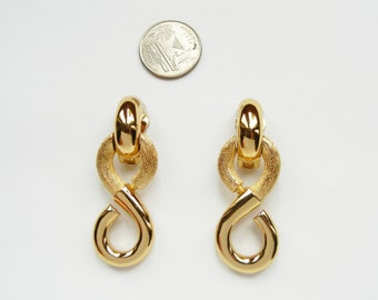 Christian Dior Massive Runway Clip on Dangle Earrings Vintage Signed Authentic