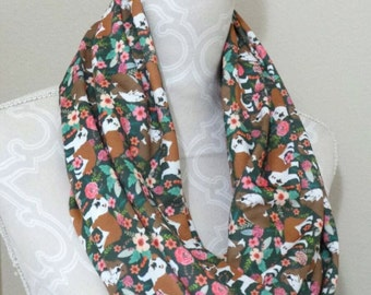 Flowers and English Bulldogs Infinity Scarf