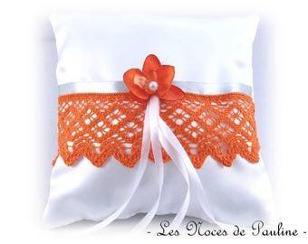 Orange and white Orchid and lace ring pillow