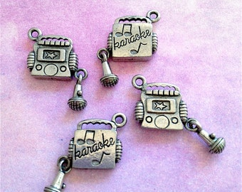 Karaoke Music Charms --4 pieces-(Antique Pewter Silver Finish)--style 859-Free combined shipping