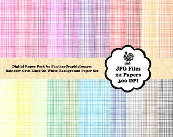CrossHatch Grid Scrapbook Paper Style #2 Digital Pack 22 Rainbow Printable Scrapbooking Wallpaper CU Background Photography Instant Download