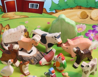 SALE20%Off! Wooden farm animal set, Birthday farm animal toys, Large Set Toys, wood toy farm animals, Toys for Kids, Partyfavors  Boys Girl